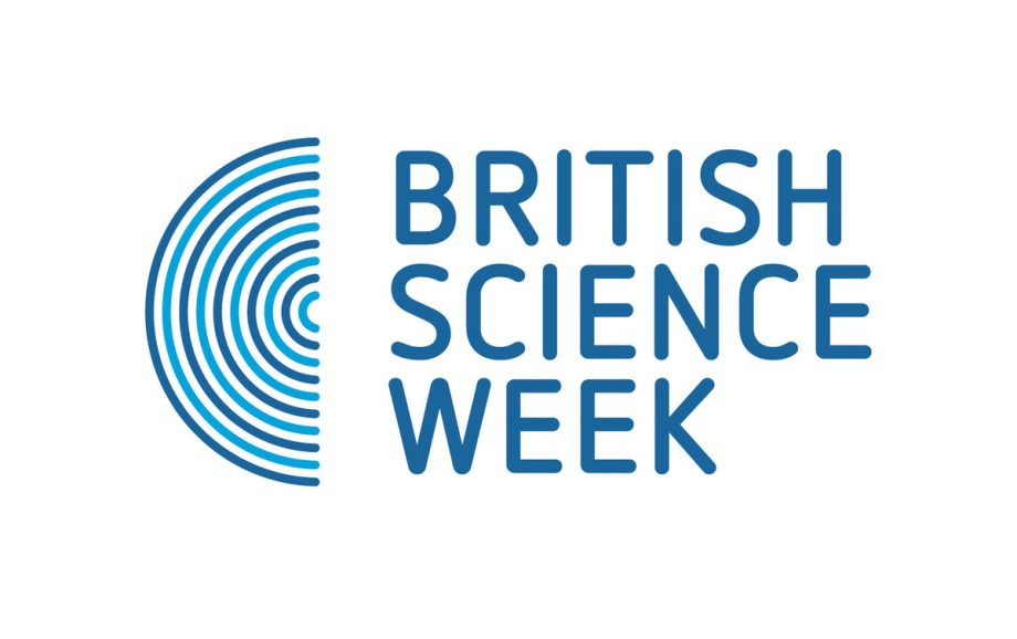 Text British Science Week in blue beside a blue semi circle