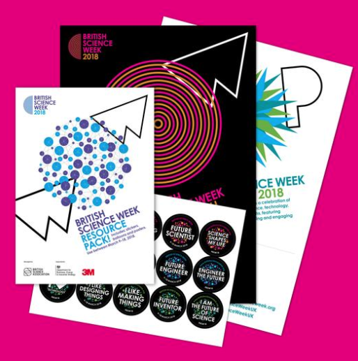 A collection of posters and sticker packs for British Science Week on a pink background