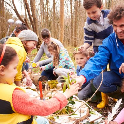 A group of children with adults in a forest gathered around an activity involving leaves and branches and sticks