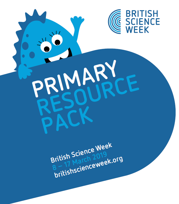 The primary resource pack in blue, with a blue monster and the dates of British Science Week (8-17 March)
