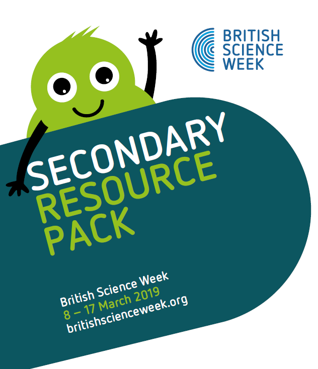 The secondary resource pack in green with a green monster and the dates of British Science Week (8 -17 March)