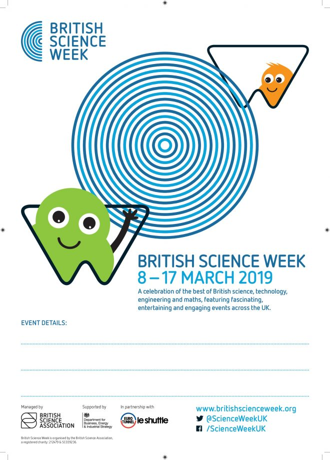 Poster advertising British Science Week with a green and orange monster emerging from shapes around a blue circle on a white background