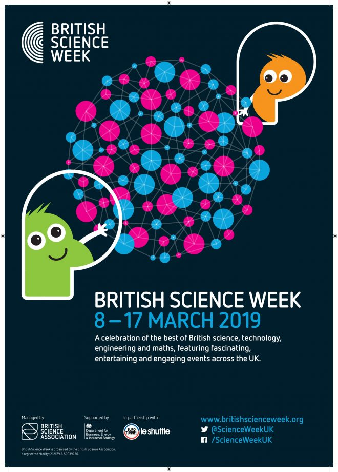 Poster advertising British Science Week with a green and orange monster emerging from shapes around a circle of blue and pink dots on a midnight blue background