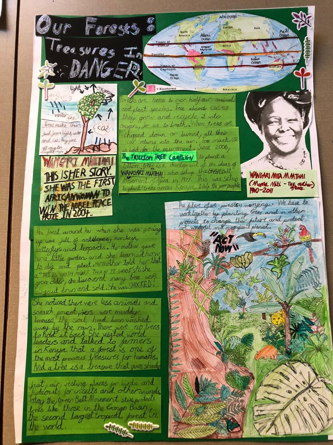 A green poster titled 'Our Forests: Treasures in Danger'. It is covered in drawings and text that tell the story of Nigerian activist Wangari Maathai.