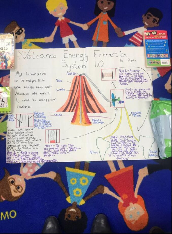 A poster showing a Volcano Energy Extraction System to provide energy to poor countries.