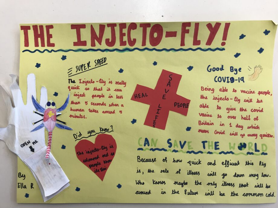 A poster showing the injecto-fly, a device that can quickly vaccinate alot of people against Covid-19.