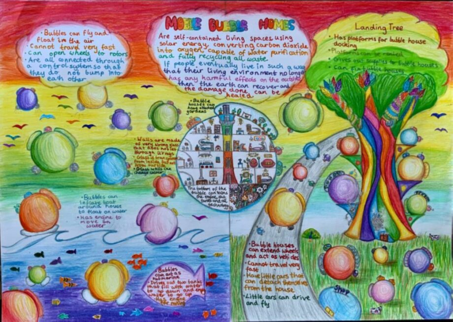 A poster showing mobile bubble homes, a system that would protect the world from household human pollution.